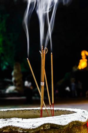 Incense or Joss Sticks with Rising Smoke  Stok Fotoğraf