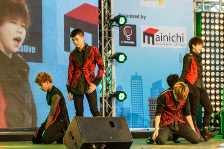 BANGKOK - AUGUST 31   Cover Dance Performance by Divinity Party cover 2PM in Japan Festa in Bangkok 2013 on August 31, 2013 at Central World, Bangkok, Thailand  Editorial