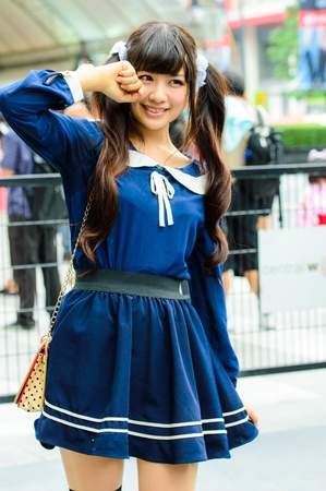 BANGKOK - AUGUST 31   Cosplayer as Japanese schoolgirl poses in Japan Festa in Bangkok 2013 on August 31, 2013 at Central World, Bangkok, Thailand