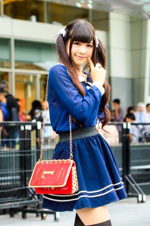 Bangkok August  Cosplayer As Japanese Schoolgirl Poses In Japan Festa In Bangkok  On