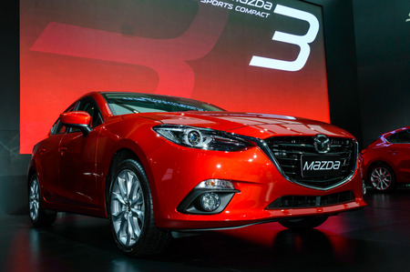 BANGKOK - MARCH 27   The All-New MAZDA 3 SKYACTIV Sports Compact on display at The 35th Bangkok International Motor Show -  Beauty in the Drive  on March 27, 2014 in Bangkok, Thailand