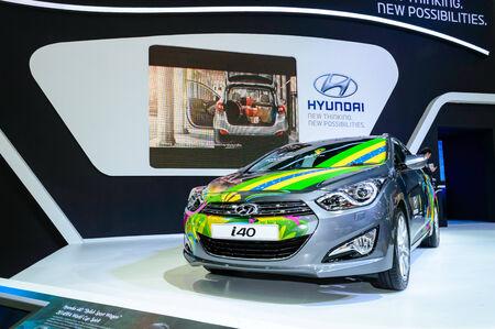 BANGKOK - MARCH 27   Hyundai i40 Brazil Edition Skin on display at The 35th Bangkok International Motor Show -  Beauty in the Drive  on March 27, 2014 in Bangkok, Thailand  Editorial
