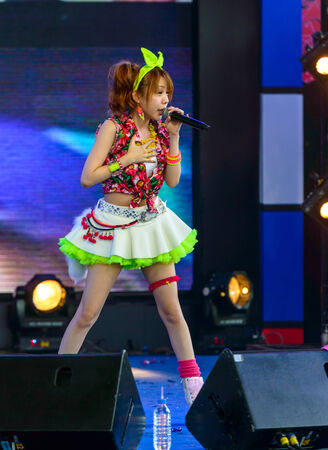 vocals: BANGKOK - AUGUST 30 : Tanaka Reina (Vocals Leader) from LoVendor Group in Japan Festa in Bangkok 2014 Enter 10th Celebrationon August 30, 2014 at Central World, Bangkok, Thailand. Editorial