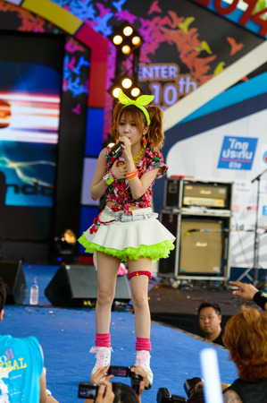 vocals: BANGKOK - AUGUST 30 : Tanaka Reina (Vocals Leader) from LoVendor Group in Japan Festa in Bangkok 2014 Enter 10th Celebration on August 30, 2014 at Central World, Bangkok, Thailand.