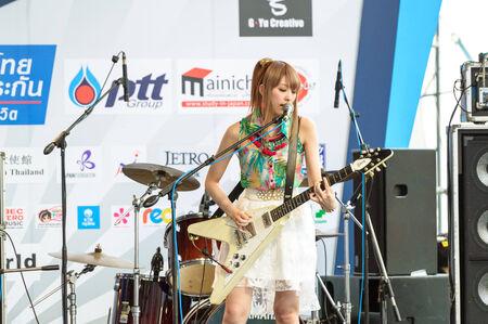 BANGKOK - AUGUST 30 : Miyazawa Marin (Guitar) from LoVendor Group in Japan Festa in Bangkok 2014 Enter 10th Celebration on August 30, 2014 at Central World, Bangkok, Thailand.