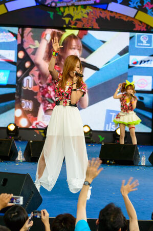 BANGKOK - AUGUST 30 : Okada Marina (Vocals) from LoVendor Group in Japan Festa in Bangkok 2014 Enter 10th Celebration on August 30, 2014 at Central World, Bangkok, Thailand.