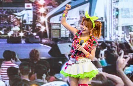vocals: BANGKOK - AUGUST 30 : Tanaka Reina (Vocals Leader) from LoVendor Group in Japan Festa in Bangkok 2014 Enter 10th Celebration on August 30, 2014 at Central World, Bangkok, Thailand.