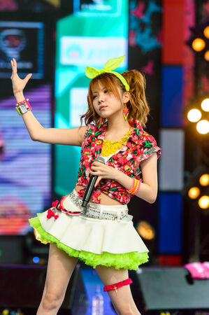 BANGKOK - AUGUST 30 : Tanaka Reina (Vocals Leader) from LoVendor Group in Japan Festa in Bangkok 2014 Enter 10th Celebration on August 30, 2014 at Central World, Bangkok, Thailand.
