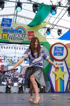 pop idol: BANGKOK - MARCH 14 : Faylan (Japanese singer) in Thai-Japan Anime Music & Festival 5th on March 14, 2015 at Central World, Bangkok, Thailand.