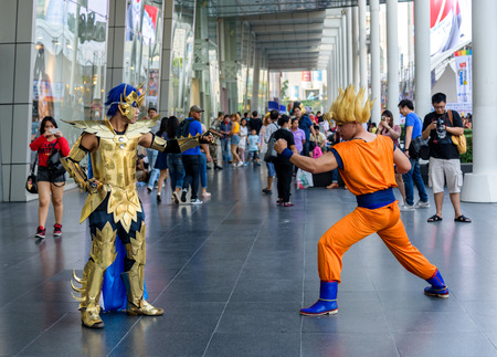 BANGKOK - MARCH 14 : Cosplayer from Saint Seiya and Dragonball Z in Thai-Japan Anime Music & Festival 5th on March 14, 2015 at Central World, Bangkok, Thailand.