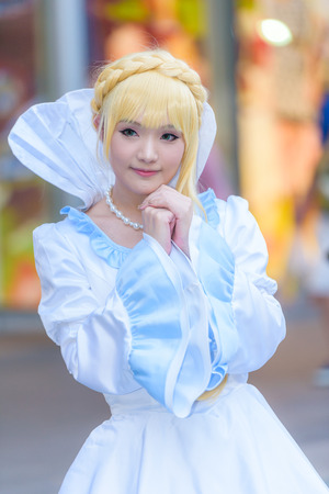 BANGKOK - MARCH 14 : An unidentified Japanese anime cosplay pose  in Thai-Japan Anime Music & Festival 5th on March 14, 2015 at Central World, Bangkok, Thailand.