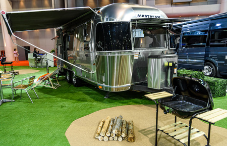 airstream: BANGKOK - MARCH 24 : Airstream Classic car on display at The 36th Bangkok International Motor Show  Editorial
