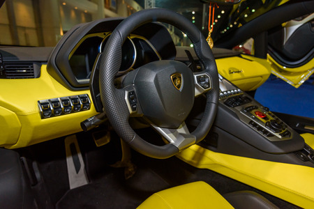 lamborghini: BANGKOK - JUNE 24 : Inside of Lamborghini on display at Bangkok International Auto Salon 2015 on June 24, 2015 in Bangkok, Thailand. Event of decoration and modify car. Editorial