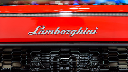lamborghini: BANGKOK - DECEMBER 01 : The Logo of Lamborghini Huracan LP 580-2 on display at The 32nd Thailand International Motor Expo 2015 on December 01, 2015 in Bangkok, Thailand.