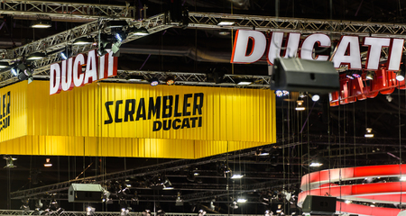 scrambler: BANGKOK - DECEMBER 01 : DUCATI and SCRAMBLER Ducati booth on display at The 32nd Thailand International Motor Expo 2015 on December 01, 2015 in Bangkok, Thailand.