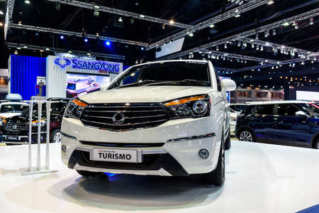 no boundaries: BANGKOK - MARCH 22 : SsangYong Turismo on display at The 37th Bangkok International Motor Show : No Boundaries Mobility on March 22, 2016 in Bangkok, Thailand.
