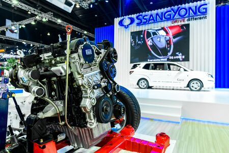 no boundaries: BANGKOK - MARCH 22 : Engine of SsangYong on display at The 37th Bangkok International Motor Show : No Boundaries Mobility on March 22, 2016 in Bangkok, Thailand.