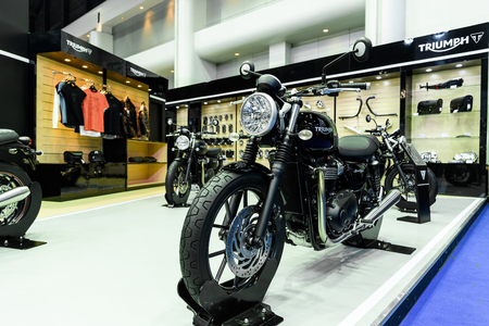 no boundaries: BANGKOK - MARCH 22 : Triumph booth on display at The 37th Bangkok International Motor Show : No Boundaries Mobility on March 22, 2016 in Bangkok, Thailand.