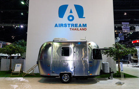airstream: BANGKOK - MARCH 22 : Airstream Classic car on display at The 37th Bangkok International Motor Show : No Boundaries Mobility on March 22, 2016 in Bangkok, Thailand.