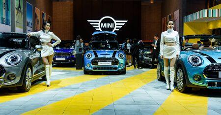 cooper: BANGKOK - MARCH 22 : Mini Cooper Exhibit booth on display at The 37th Bangkok International Motor Show : No Boundaries Mobility on March 22, 2016 in Bangkok, Thailand.