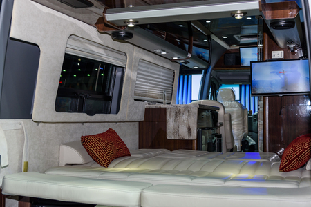 airstream: BANGKOK - MARCH 22 : Inside of Airstream Classic car on display at The 37th Bangkok International Motor Show : No Boundaries Mobility on March 22, 2016 in Bangkok, Thailand.
