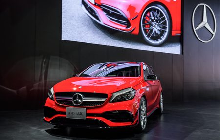 no boundaries: BANGKOK - MARCH 22 : Mercedes-Benz A45 AMG on display at The 37th Bangkok International Motor Show : No Boundaries Mobility on March 22, 2016 in Bangkok, Thailand. Editorial