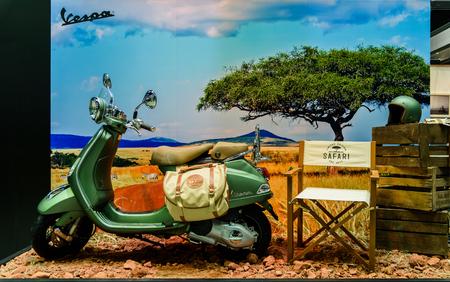 NONTHABURI - NOVEMBER 30 : Vespa LXV 150 3Vie Safari Limited Edition on display at Thailand International Motor Expo 2016 on December 8, 2016 in Nonthaburi, Thailand.