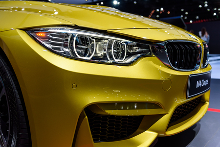 BANGKOK - MARCH 28 : Headlight of BMW M4 Coupe on display at The 38th Bangkok International Motor Show : Reach to The Planet of Technology on March 28, 2017 in Bangkok, Thailand.