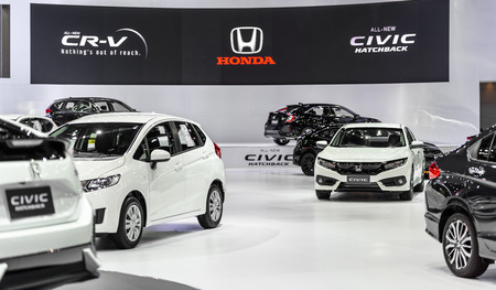 BANGKOK - MARCH 28 : Honda booth on display at The 38th Bangkok International Motor Show : Reach to The Planet of Technology on March 28, 2017 in Bangkok, Thailand.