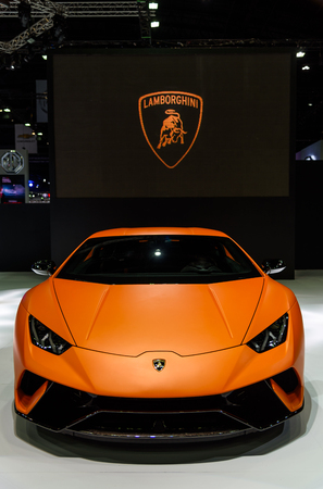 BANGKOK - MARCH 28 : The Lamborghini Huracan Performante on display at The 38th Bangkok International Motor Show : Reach to The Planet of Technology on March 28, 2017 in Bangkok, Thailand.