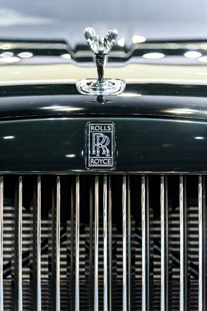 BANGKOK - MARCH 28 : The Logo of Rolls-Royce Wraith Black Badge on display at The 38th Bangkok International Motor Show : Reach to The Planet of Technology on March 28, 2017 in Bangkok, Thailand.
