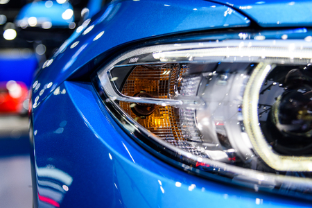 BANGKOK - MARCH 28 : Headlight of BMW M2 Coupe on display at The 38th Bangkok International Motor Show : Reach to The Planet of Technology on March 28, 2017 in Bangkok, Thailand.