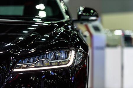 BANGKOK - MARCH 28 : Headlight of Jaguar XF on display at The 38th Bangkok International Motor Show : Reach to The Planet of Technology on March 28, 2017 in Bangkok, Thailand.