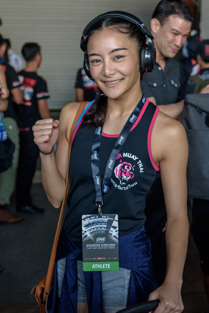 BANGKOK - MARCH 11 : Rika Ishige Tiny Doll of Thailand in One Championship One : Warrior Kingdom on March 11, 2017 at Impact Arena, Muang Thong Thani, Bangkok, Thailand