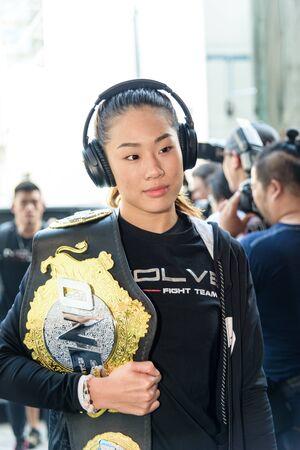 BANGKOK - MARCH 11 : Angela Lee of Singapore in One Championship One : Warrior Kingdom on March 11, 2017 at Impact Arena, Muang Thong Thani, Bangkok, Thailand