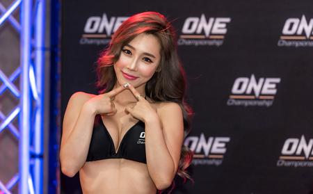 BANGKOK - MARCH 11 : Ring Girl Lee Jina in One Championship One : Warrior Kingdom on March 11, 2017 at Impact Arena, Muang Thong Thani, Bangkok, Thailand Editorial