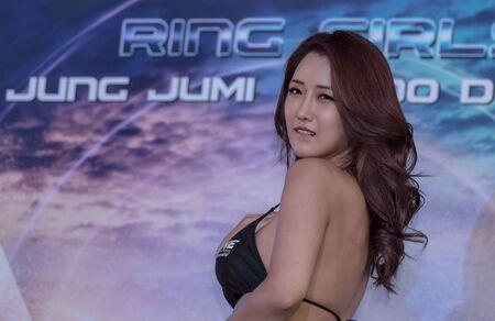 BANGKOK - MARCH 11 : Ring Girl in One Championship One : Warrior Kingdom on March 11, 2017 at Impact Arena, Muang Thong Thani, Bangkok, Thailand