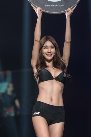BANGKOK - MARCH 11 : Ring Girl Park Sihyun in One Championship One : Warrior Kingdom on March 11, 2017 at Impact Arena, Muang Thong Thani, Bangkok, Thailand