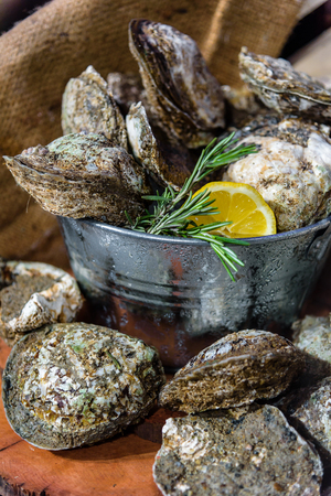 Fresh Oysters with sliced lemon in Ice buckets.