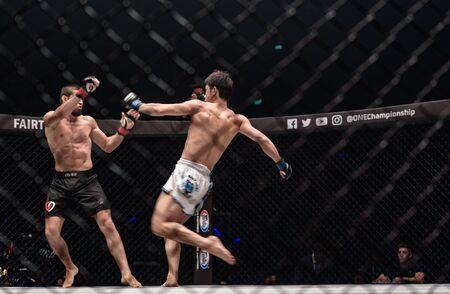 BANGKOK - March 24 : Saygid Guseyn Arslanaliev of Turkey and Tetsuya Yamada of Japan in One Championship : IRON WILL on March 24, 2018 at Impact Arena, Muang Thong Thani, Bangkok, Thailand.
