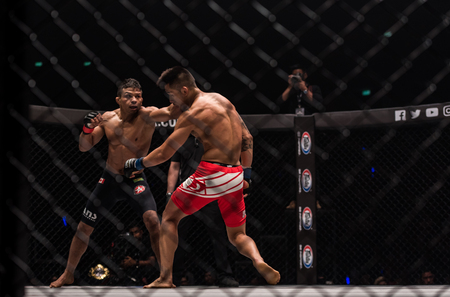BANGKOK - March 24 : Bibiano Fernandes of Brazil and Martin Nguyen of Australia in One Championship : IRON WILL on March 24, 2018 at Impact Arena, Muang Thong Thani, Bangkok, Thailand. Editöryel
