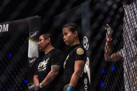 BANGKOK - March 24 : Angelie Sabanal of Philippines in One Championship : IRON WILL on March 24, 2018 at Impact Arena, Muang Thong Thani, Bangkok, Thailand.