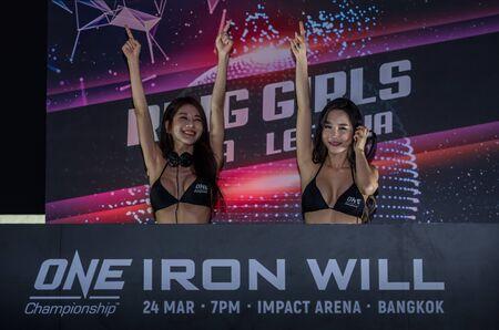 BANGKOK - March 24 : Ring Girl SIENA and LEE JI NA in One Championship : IRON WILL on March 24, 2018 at Impact Arena, Muang Thong Thani, Bangkok, Thailand. Editöryel