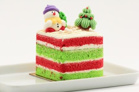 chirsmas cake with santa and snowman chrismas tree.