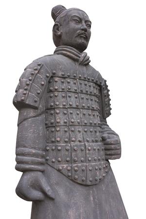 Aislado guerrero de terracota de China contra el fondo gris Foto de archivo