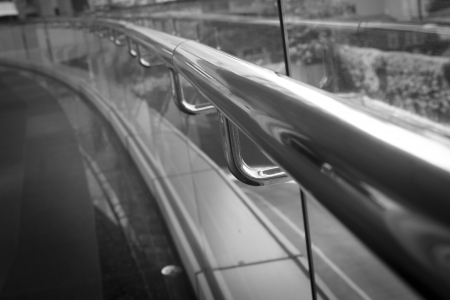 black and white stainless handrail  photo