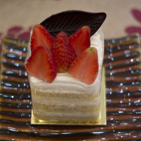 A pice of Strawberry shortcake