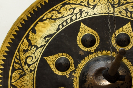 dish disk: Old brass gong of victory,Thailand