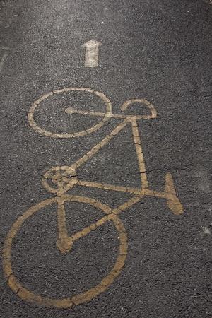 Bike lanes and  bike symbol Stock Photo