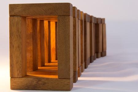 juguetes de madera: Edificio gen�rico bloque de madera, madera disparo macro Foto de archivo